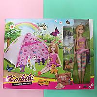 Кукла типа Барби с питомцами и с палаткой