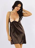 Атласная сорочка ночная с кружевом женская (ночнушка) коричневая Украина
