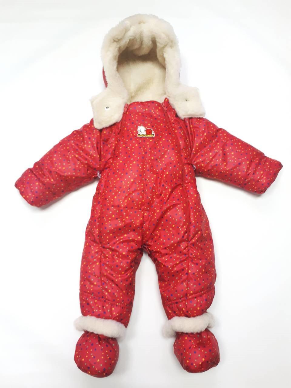 Детский комбинезон трансформер зимний (красный в звездочку)
