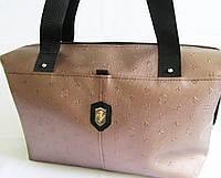 Стильная сумка кожзам бронзовая с черными ручками