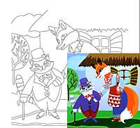 """Холст на картоне с контуром, """"Сказочные герои № 5"""", 20*20 см, хлопок, акрил, ROSA KIDS, 283142"""