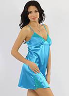 Атласная сорочка ночная с кружевом женская (ночнушка) голубая Украина