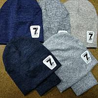 Комплект ангоровый двойной шапка и снуд для мальчиков 6-9 лет
