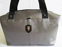 Стильная сумка кожзам серебро с черными ручками