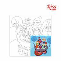 """Холст на картоне с контуром, """"Сказочные герои № 7"""", 20*20 см, хлопок, акрил, ROSA KIDS, 283141"""