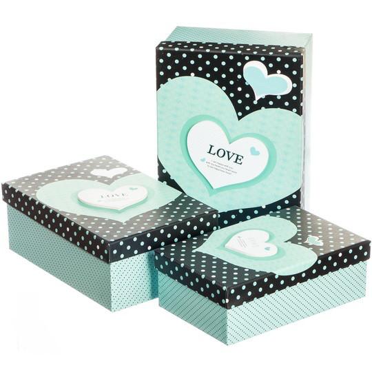 """Набор зеленых подарочных коробок 3 штуки """" Love """""""