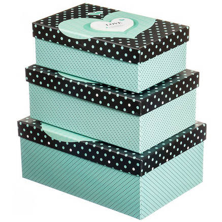 """Набор зеленых подарочных коробок 3 штуки """" Love """", фото 2"""