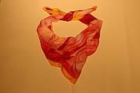 Платок шелковый, шарф розовый с принтом