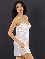 Атласная сорочка ночная с кружевом женская (ночнушка) белая Украина 7ad968691f351