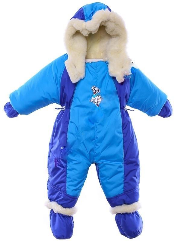 Детский комбинезон трансформер для новорожденных зимний (синий с бирюз