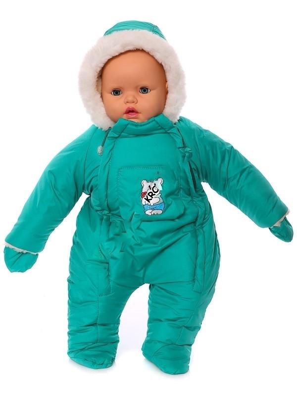 Зимний комбинезон для новорожденных (0-6 месяцев) зеленый