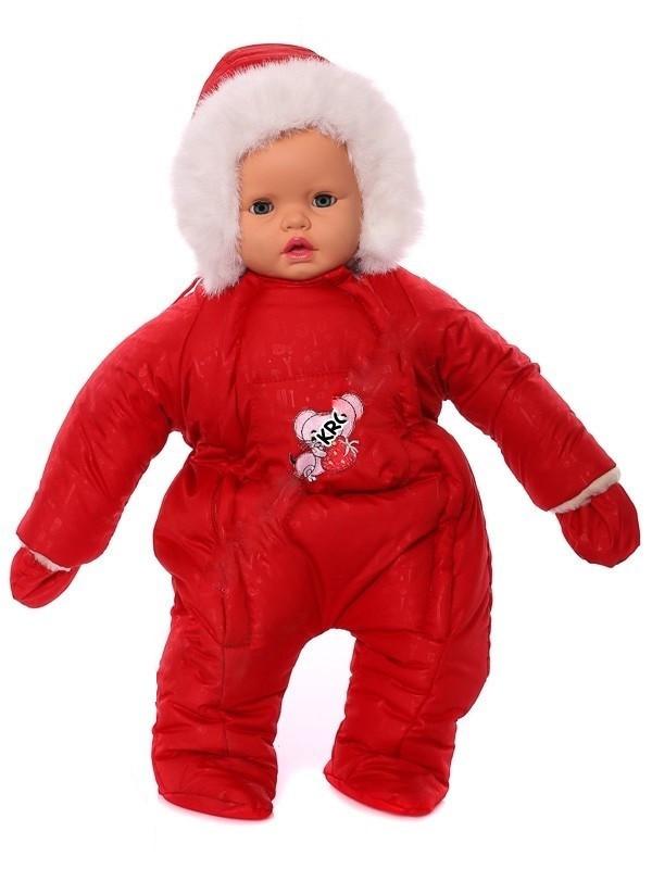 Зимний комбинезон для новорожденных (0-6 месяцев) красный с рисуночком