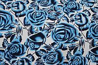 Ткань кукурузка принт голубые розы