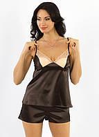 Атласная пижама женская шоколадная с шортами комплектженский с кружевомУкраина