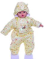 Демисезонный комбинезон для новорожденного (0-6 месяцев) желтый в сердечки
