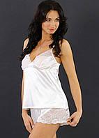 Атласная пижама женская с шортами белый комплектженский с кружевомУкраина