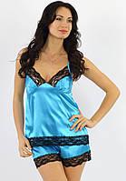 Атласная пижама женская с шортами комплект женский с кружевом Украина
