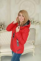 Куртка женская трансформер в жилет весна - осень красная