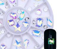 Хрустальные камни для дизайна ногтей в каруселе набор