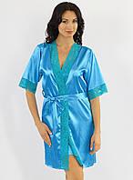 Атласный халат женский с кружевом шелковый голубой модель кимоно