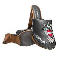 100% Оригинал босоножки на каблуке сабо женские с вышивкой закрытые Ed Hardy Portland