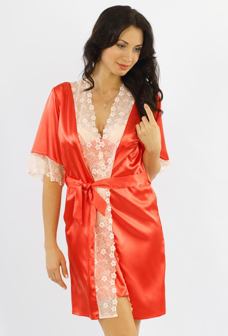 Атласный халат женский с кружевом шелковый модель кимоно