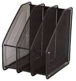 Лоток для бумаги вертикальный 3 секции, металл.сетка, черный 307-C