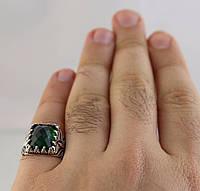 Серебряное 925 мужское кольцо с изумрудом, 21р. Турция, фото 1