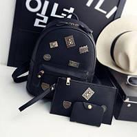 Модный женский набор с нашивками рюкзак+клатч+визитница.
