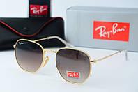 Солнцезащитные очки круглые Rb коричневые в золоте, фото 1