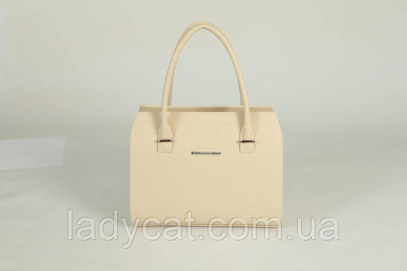 9e317363d540 Женская летняя сумка молочного цвета из кожзаменителя декорирована  крокодиловым узором М50-12