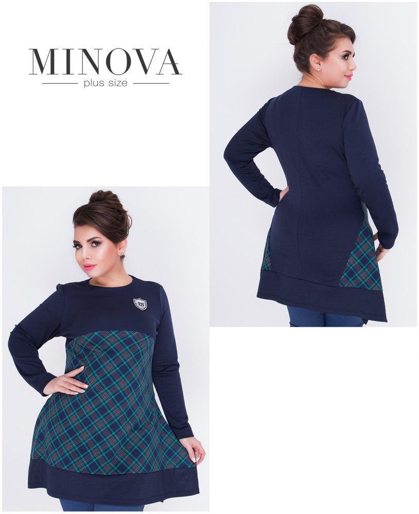 Стильна туніка великого розміру під штани джинси жіночі ТМ Minova батал (52,54,56,58,60)