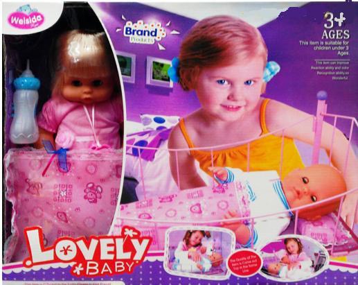 Кукла-пупс с кроваткой Lovely Baby 1305D/E/H/B