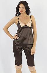 Атласная пижама женская с бриджами комплектженский с кружевомУкраина