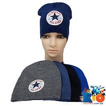 Детская шапка (весна-осень), тонкая вязка для мальчика, размер 52-54 (5 ед в уп)