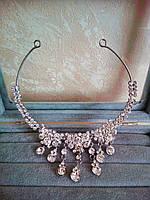 Диадема, украшение в восточном стиле, тикка под серебро с подвесным камнем,  корона, тиара, высота 5 см., фото 1