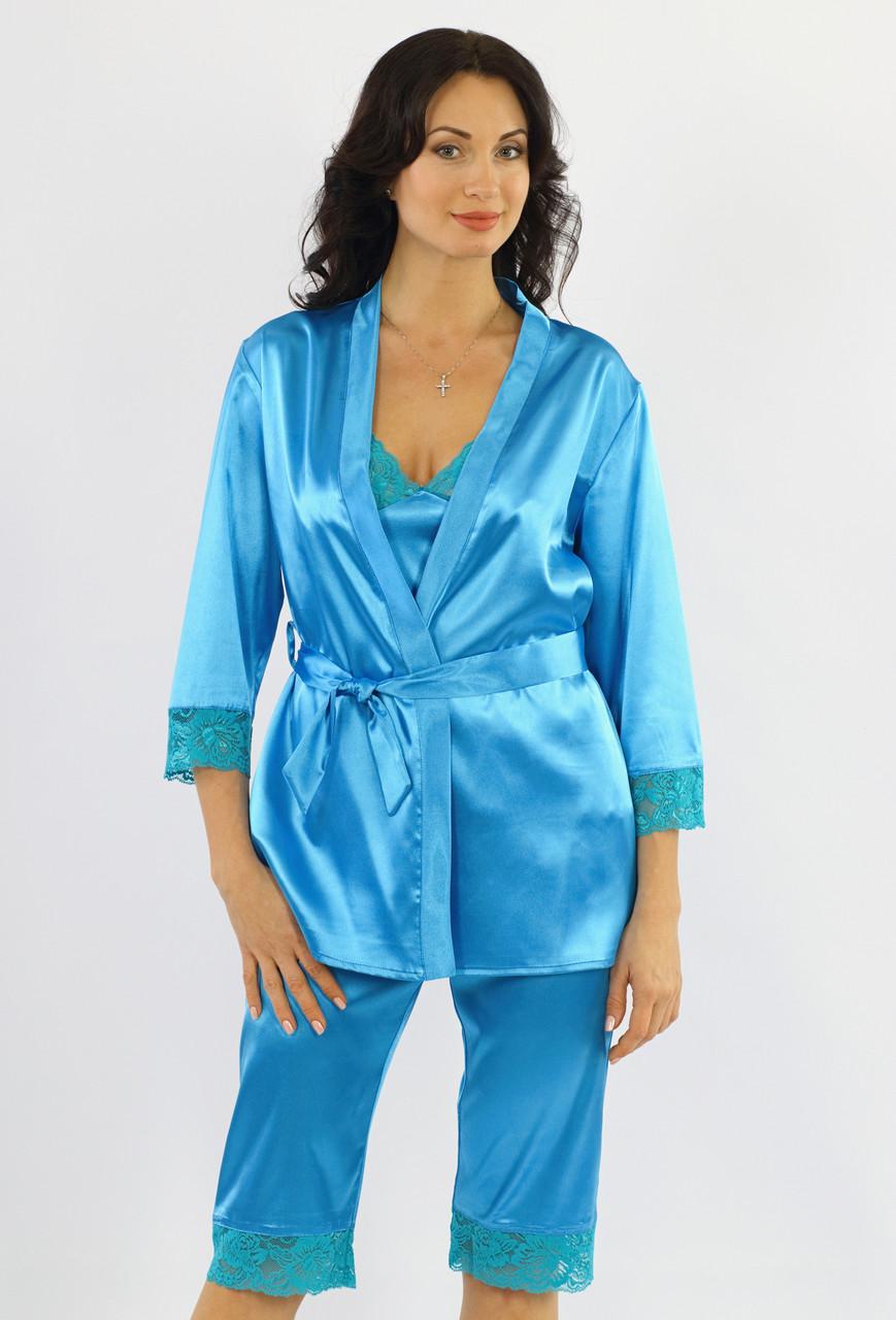 Атласная пижама женская комплект с халатом, майкой и бриджами кружевной Украина