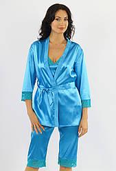 Атласная пижама женская комплект с халатом, майкой и бриджамикружевнойУкраина