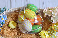 """Набор подвески яйца в контейнере, 12/шт в уп.  """"Яйцо микс"""" оранж+зеленый+желтый"""