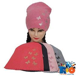 Детская шапка в горошек (весна-осень), двойной трикотаж для девочек, р-р 52