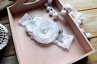 Повязка на голову для девочки ручной работы (размер к-ции 15 см, от 0 до 3 лет)