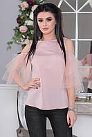 Блуза с открытыми плечами и рукавами из сетки (3 цвета) ИБР50364079