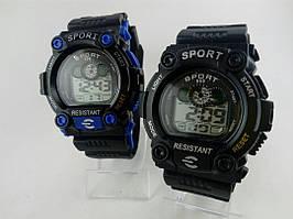 Часы наручные, Цвет: черный, синий, Резиновый ремешок, Цифровой дисплей, Sport Shock, Механизм електронный.
