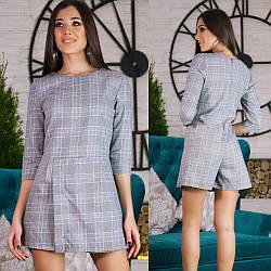Элегантный стильный деловой комбинезон в клетку, низ шорты-юбка на запах