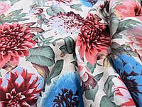 Ткань для скатерти рогожка Георгины