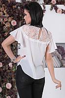 Блуза с коротким рукавом и кружевной вставкой (2 цвета) ИБР50364078