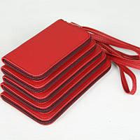 """Универсальный чехол для телефона красного цвета из высококачественного кожзаменителя """" 25 """""""