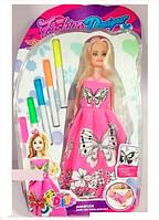 Кукла Модница с бабочкой раскраска с маркерами 6668 (96) на листе