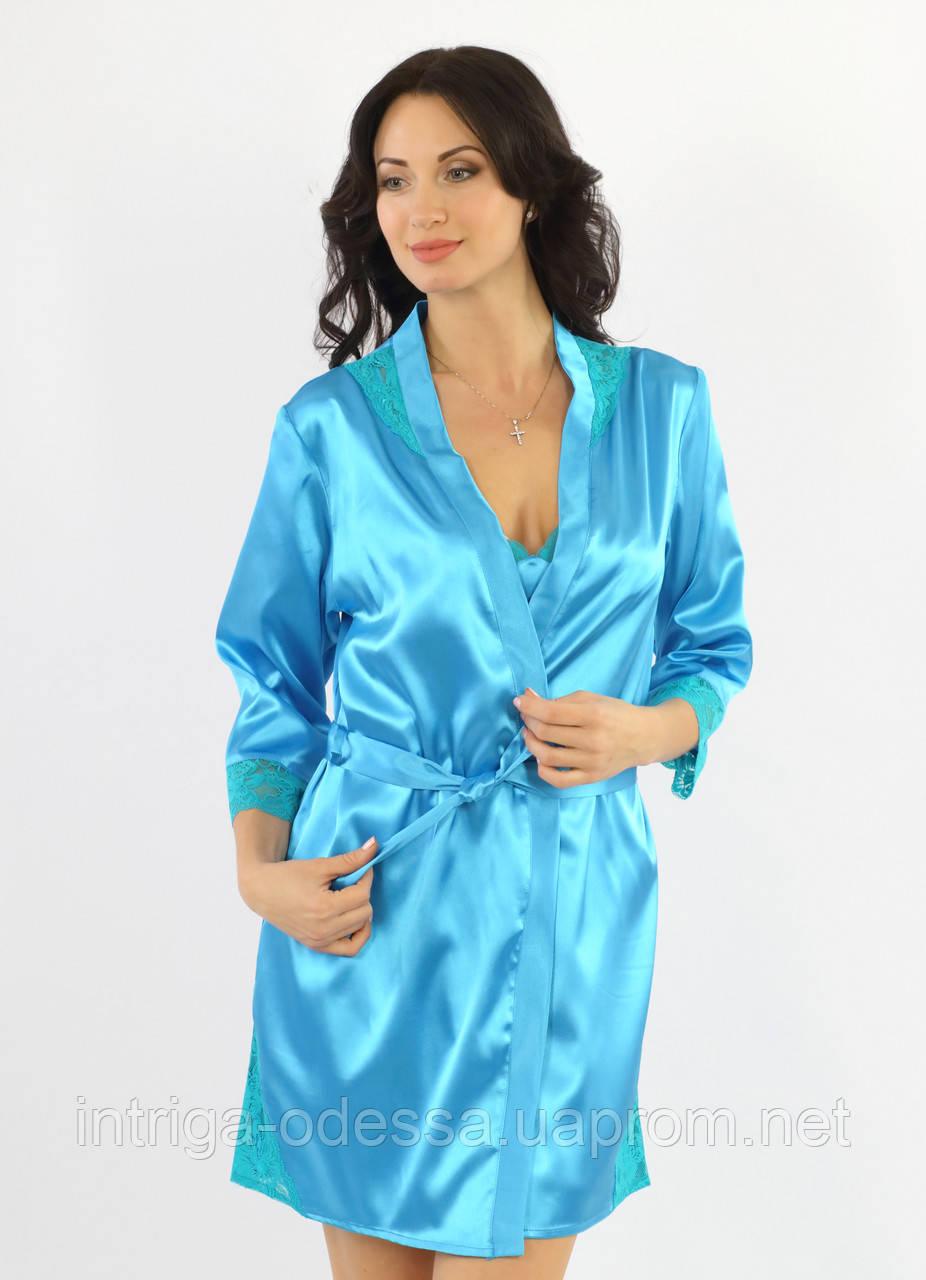 Пеньюар  и сорочка, комплект  женский голубой, ТМ Ksena