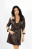 Пеньюар  и сорочка, комплект женский коричневый, ТМ Ksena
